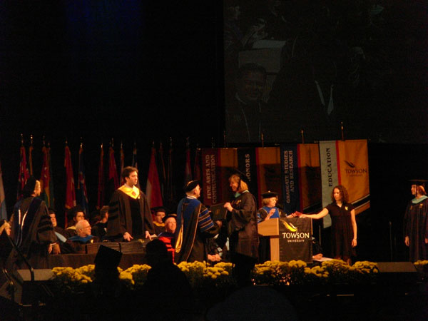 Receiving my degree.