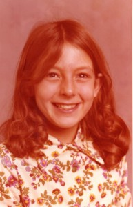 Fourth grade...I still have those circle under my eyes...wow skin of a 10 year old. Dress was later re-purposed at wall paper .