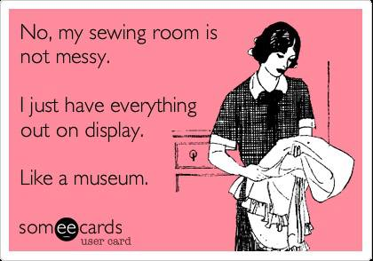 messy sewing room